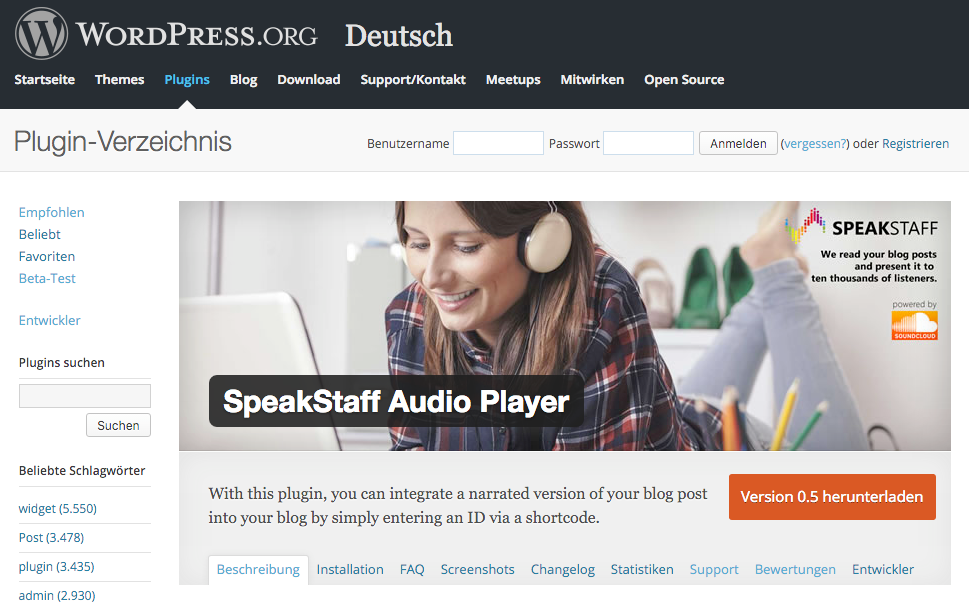 SpeakStaff Plugin im WordPress Repository